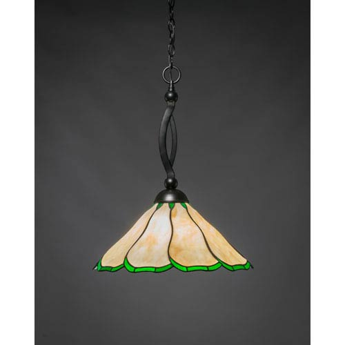 Toltec Lighting Bow Matte Black 16-Inch One Light Pendant with Honey/Hunter Green Flair Tiffany Glass