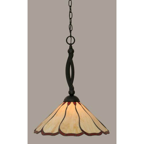 Toltec Lighting Bow Matte Black 16-Inch One Light Pendant with Honey/Burgundy Flair Tiffany Glass