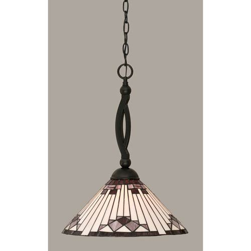 Toltec Lighting Bow Matte Black 15-Inch One Light Pendant with Purple Sunray Tiffany Glass