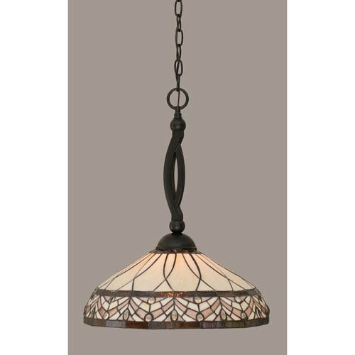 Bow Matte Black 16-Inch One Light Pendant with Royal Merlot Tiffany Glass