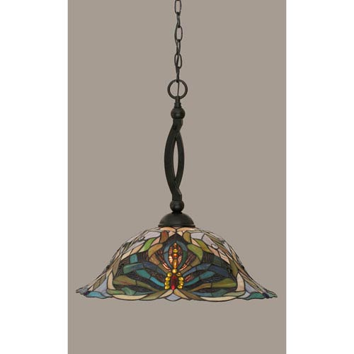 Toltec Lighting Bow Matte Black 19-Inch One Light Pendant with Kaleidoscope Tiffany Glass