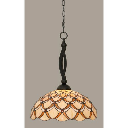 Toltec Lighting Bow Matte Black 16-Inch One Light Pendant with Honey/Brown Scallop Tiffany Glass