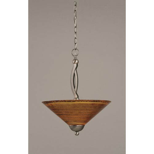 Bow Brushed Nickel Two-Light Pendant with 16-Inch Firre Saturn Glass Shade