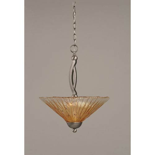 Toltec Lighting Bow Brushed Nickel Two-Light Pendant with 16-Inch Amber Crystal Glass Shade