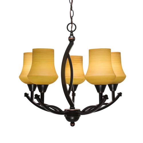 Bow Black Copper Five-Light 21-Inch Chandelier with 5.5-Inch Zilo Cayenne Linen Glass