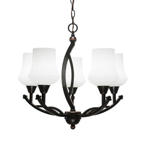 Bow Black Copper Five-Light 21-Inch Chandelier with 5.5-Inch Zilo White Linen Glass