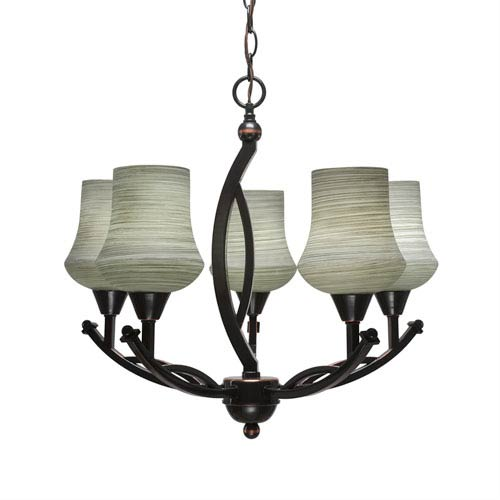 Bow Black Copper Five-Light 21-Inch Chandelier with 5.5-Inch Zilo Gray Linen Glass