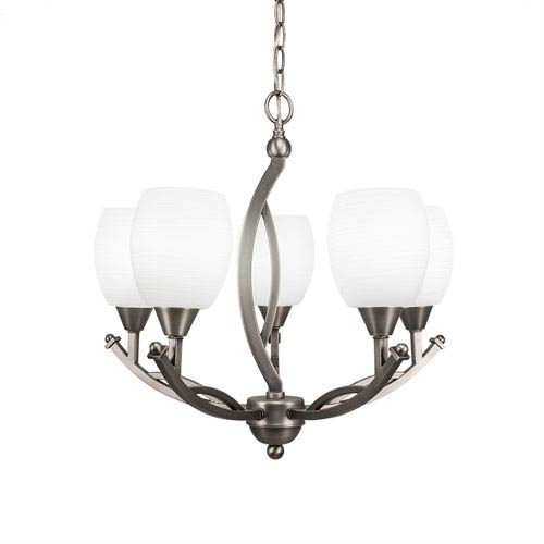 Bow Brushed Nickel Five-Light 20-Inch Chandelier with 5-Inch White Linen Glass