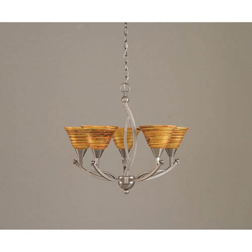 Toltec Lighting Bow Brushed Nickel Five-Light Chandelier with 7-Inch Firre Saturn Glass Shade