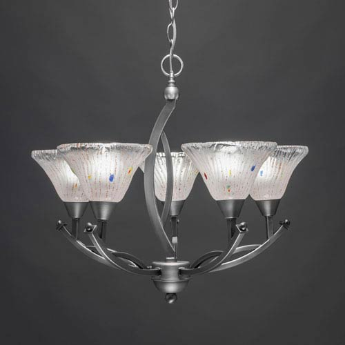 Toltec Lighting Bow Brushed Nickel Five-Light Chandelier with 7-Inch Frosted Crystal Glass Shade