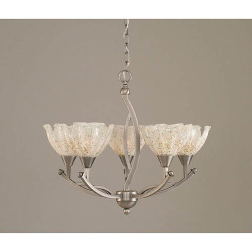 Toltec Lighting Bow Brushed Nickel Five-Light Chandelier with 7-Inch Gold Ice Glass Shade