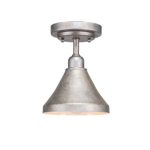 Toltec Lighting Vintage Silver One-Light 7-Inch Semi-Flush with 7-Inch Aged Silver Metal Shade