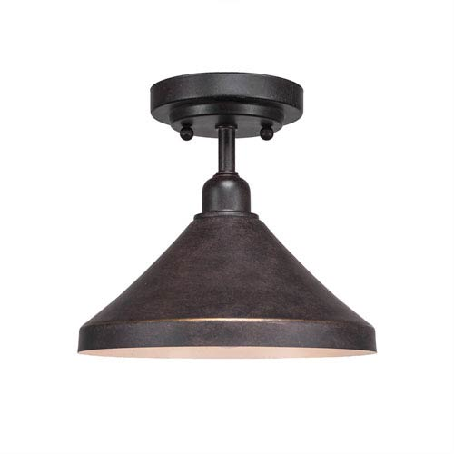 Vintage Dark Granite One-Light 10-Inch Semi-Flush with 10-Inch Dark Granite Metal Shade