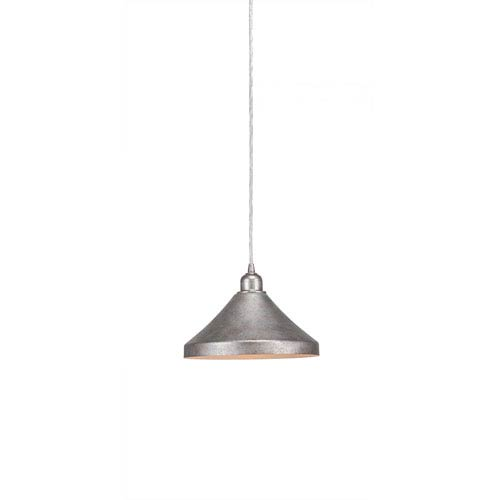Vintage Aged Silver One-Light 10-Inch Cord Mini Pendant with 10-Inch Aged Silver Metal Shade