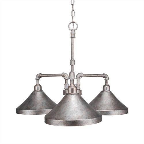 Vintage Aged Silver Three-Light 24-Inch Chandelier with 10-Inch Aged Silver Metal Shade