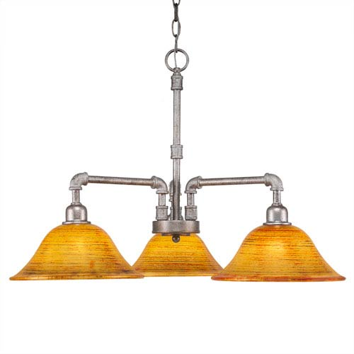 Toltec Lighting Vintage Aged Silver Three-Light Chandelier with Firré Saturn Glass