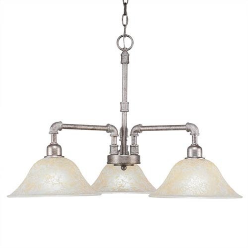 Toltec Lighting Vintage Aged Silver Three-Light Chandelier with Amber Marble Glass
