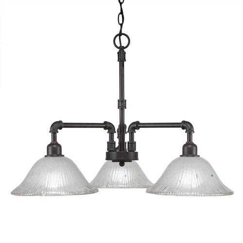 Vintage Dark Granite Three-Light 24-Inch Chandelier with Frosted Crystal Glass