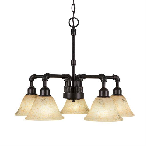 Vintage Dark Granite Five-Light Chandelier with Italian Marble Glass