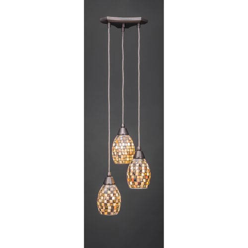 Europa Three-Light Multi Mini Pendant - Brushed Nickel Finish with 5 Inch Seashell Glass