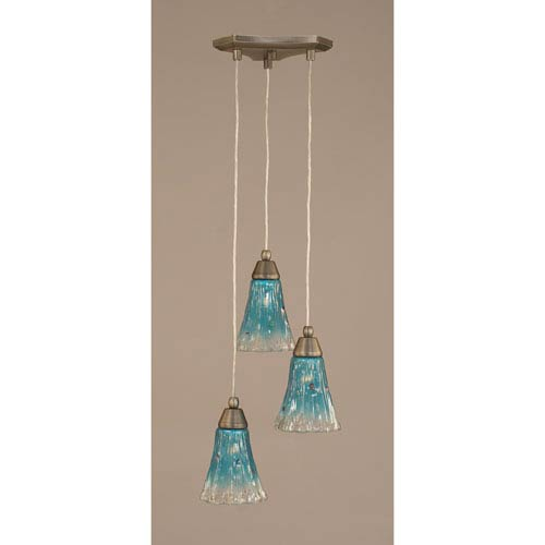 Toltec Lighting Europa Three-Light Multi Mini Pendant - Brushed Nickel Finish with 5.5 Inch Teal Crystal Glass