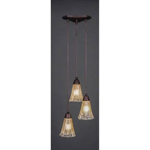 Europa Three-Light Multi Mini Pendant - Bronze Finish with 5.5 Inch Amber Crystal Glass