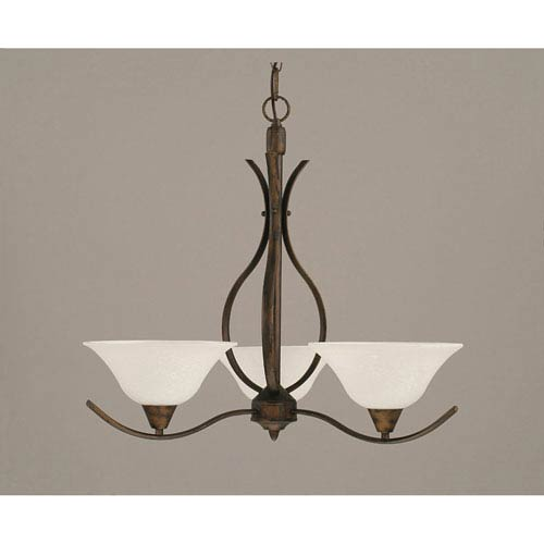 Toltec Lighting Swoop Bronze Three-Light Chandelier with 10-Inch Spider Web Glass Shade