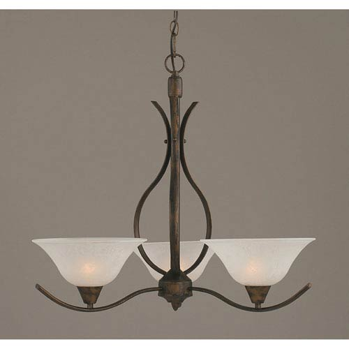Toltec Lighting Swoop Bronze Three-Light Chandelier with 10-Inch White Marble Glass Shade