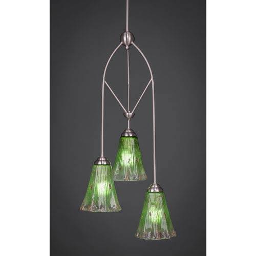 Toltec Lighting Contempo Brushed Nickel Three-Light Multi Light Mini Pendant w/ 5.5-Inch Kiwi Green Crystal Glass