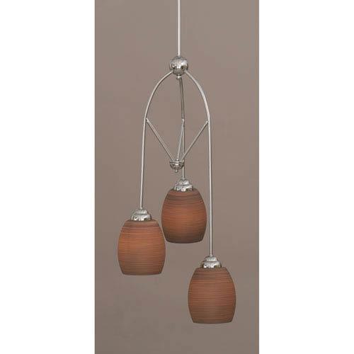 Contempo Chome Three-Light Multi Light Mini Pendant w/ 5-Inch Gray Linen Glass