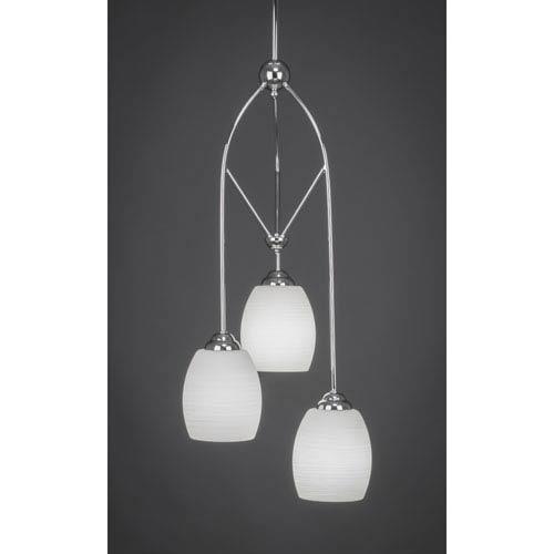 Contempo Chome Three-Light Multi Light Mini Pendant w/ 5-Inch White Linen Glass