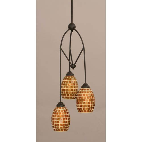 Toltec Lighting Contempo Dark Granite Three-Light Multi Light Mini Pendant w/ 5-Inch Mosaic Glass