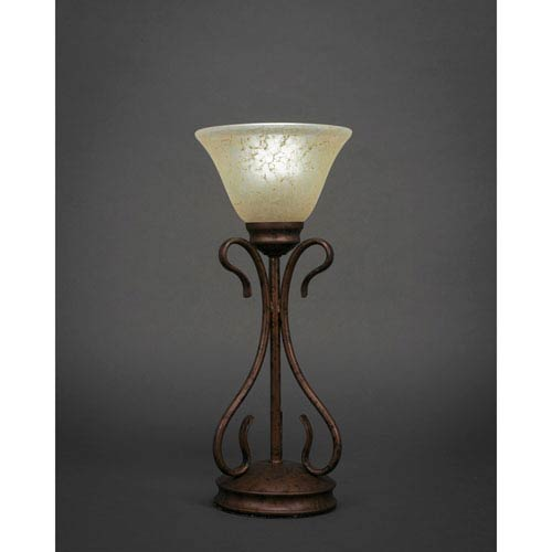 Toltec Lighting Swan Bronze One-Light Table Lamp with Amber Marble Glass Shade