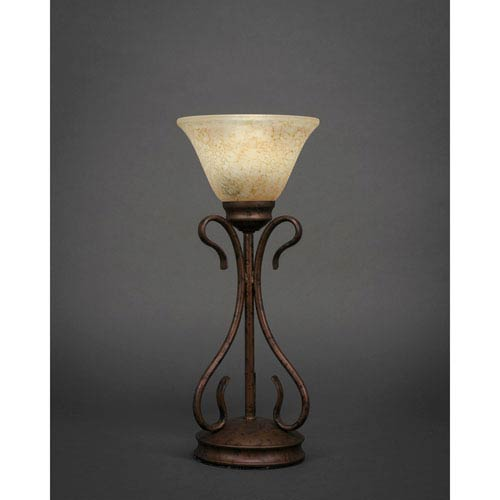 Swan Bronze One-Light Table Lamp with Italian Marble Glass Shade