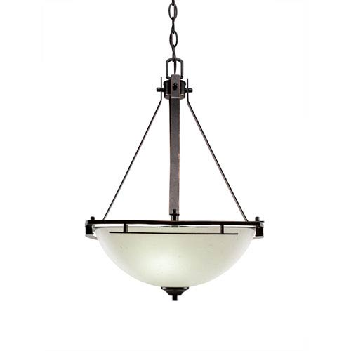 Uptowne Aged Silver Three-Light Bowl Pendant with White Muslin Glass