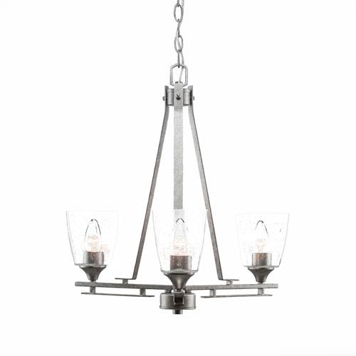 Uptowne Dark Granite Three-Light Chandelier with Clear Bubble Glass