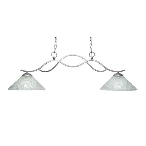 Toltec Lighting Revo Aged Sivler Two-Light Island Pendant with 12-Inch Italian Bubble Glass Shade