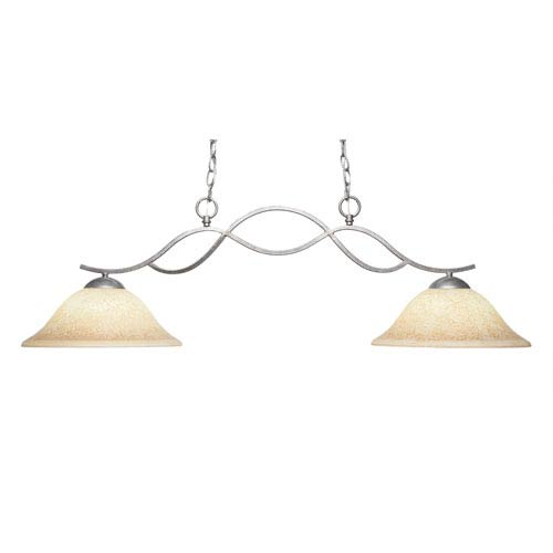Revo Aged Sivler Two-Light Island Pendant with 12-Inch Italian Marble Glass Shade