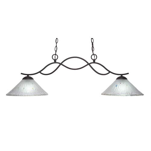 Revo Dark Granite Two-Light Island Pendant with 12-Inch Frosted Crystal Glass Shade