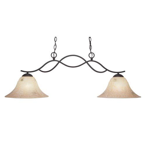 Revo Dark Granite Two-Light Island Pendant with 14-Inch Italian Marble Glass Shade