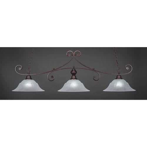 Toltec Lighting Curl Bronze Three-Light Island Pendant with 16-Inch White Marble Glass Shade