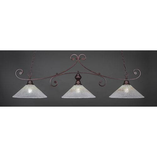 Toltec Lighting Curl Bronze Three-Light Island Pendant with 16-Inch Gold Ice Glass Shade