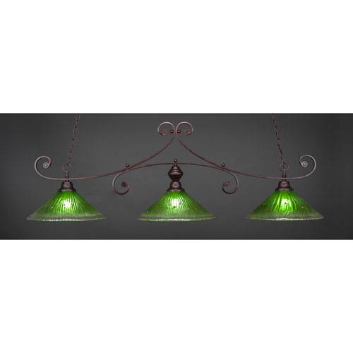 Curl Bronze Billiard Light with Kiwi Green Crystal Glass