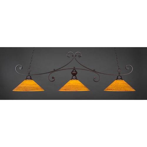 Toltec Lighting Curl Dark Granite 16-Inch Three Light Billiard Bar with Firré Saturn Glass