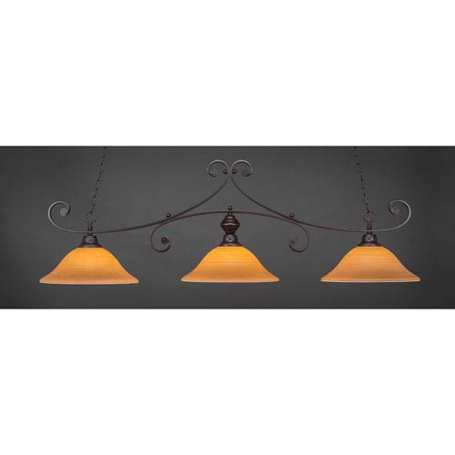 Toltec Lighting Curl Dark Granite 16-Inch Three Light Billiard Bar with Cayenne Linen Glass