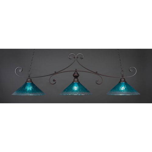 Curl Dark Granite 16-Inch Three Light Billiard Bar with Teal Crystal Glass