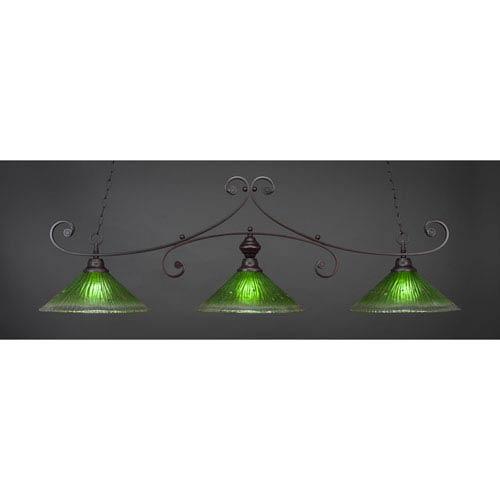 Curl Dark Granite 16-Inch Three Light Billiard Bar with Kiwi Green Crystal Glass