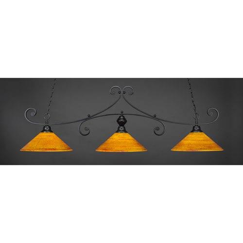 Toltec Lighting Curl Matte Black 16-Inch Three Light Billiard Bar with Firre Saturn Glass