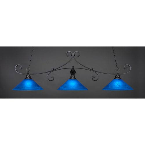 Toltec Lighting Curl Matte Black 16-Inch Three Light Billiard Bar with Blue Italian Glass