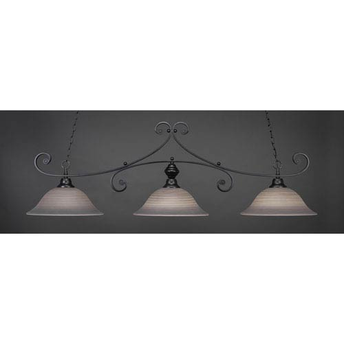 Toltec Lighting Curl Matte Black 16-Inch Three Light Billiard Bar with Gray Linen Glass